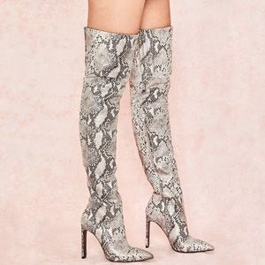House of CB Dancer Snakeskin Gold Shimmer Leather Thigh Over The Knee Boots